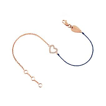 Bracelet Heart 18K Gold and Diamonds, on Half Thread Half Chain - Rose Gold, BluePetrol