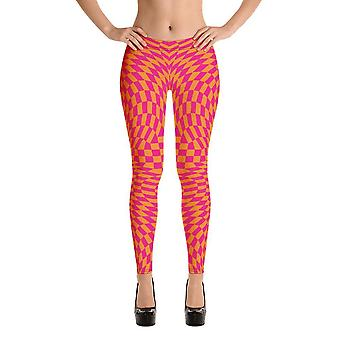 Mode leggings   fancy   rosa & orange checkers