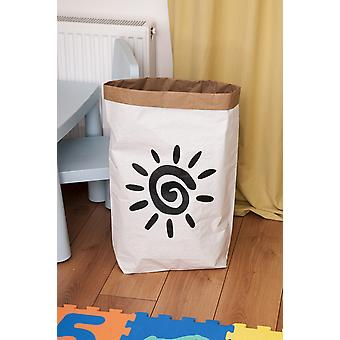 Sun basket Color White, Preto em Placa Kraft, Vinil, L50xP15xA60 cm
