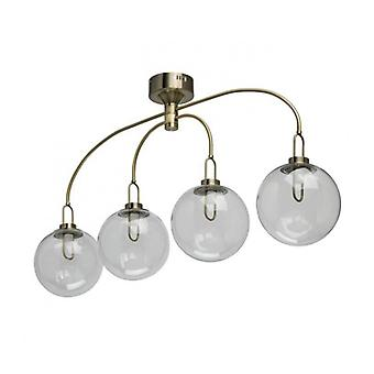 Brass Pendant Light Loft 4 Bulbs 55 Cm