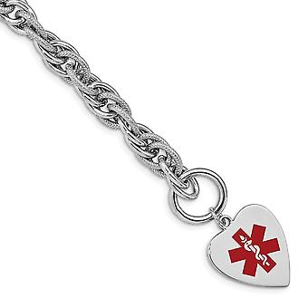 Polished Engravable Toggle Closure Engraveable Enamel Love Heart Medical ID Bracelet Toggle Jewelry Gifts for Women - Le