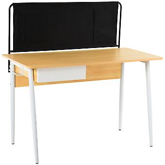 HOMCOM MDF Modern Computer Desk Laptop Writing Table for Home & Office with Drawer Canvas Bag Wood Color & Black & White