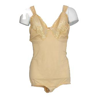 Cortland Intimates Plus Shaper Comfort Lace Body Briefer Nude Beige