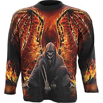 Spiraal-Vlaming dood-wikkel rond lange mouwen t-shirt