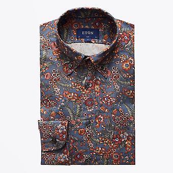 Eton  - Floral Print Flannel Shirt - Multi