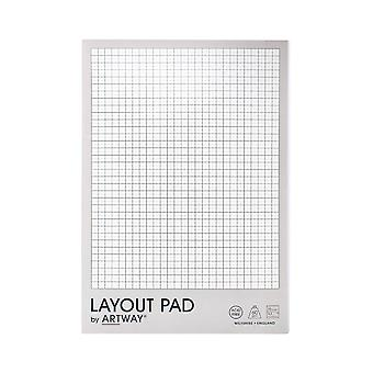 Artway Layout Pad - 60gsm -  With Layout Grid - 35 Sheets - A3/A4