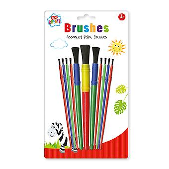 Kids Create Pack 11 Assorted Paint Brushes Kids Childrens Arts & Crafts Set 3+