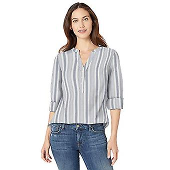 Essentials Women's Relaxed-Fit Lightweight 3/4 Sleeve Cotton Popover T...