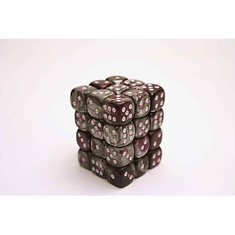 Chessex Gemini 12mm D6 Block - Purple-Steel/white