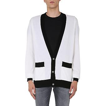 Balmain Uh13430k015gab Men's White Wool Cardigan