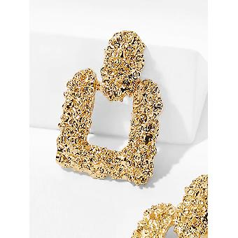 Textured Square Gold Earrings for All Occasions