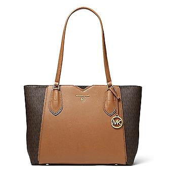 MICHAEL Michael Kors Mae Medium Brown Leather & Logo Tote Bag