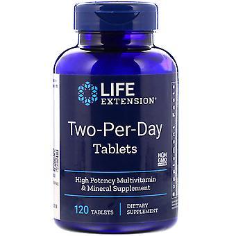 Extensión de vida, tabletas de dos días, 120 tabletas