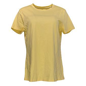 Isaac Mizrahi Live! Women's Regular Top Crew Neck Swing Tee Yellow A378936
