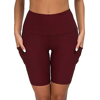 Custer's Night High Waist Running Workout Leggings for Yoga with Pockets Wine Red S