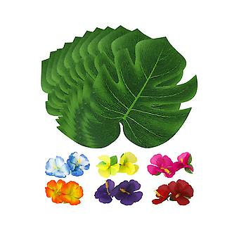 24PCS Artificial Monstera Fake Green Leaf + 12PCS Hibiscus Medium