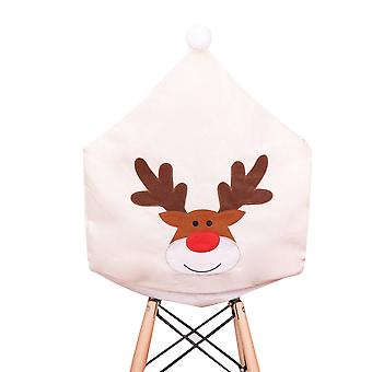 YANGFAN Beige Christmas Elk Embroidered Chair Covers