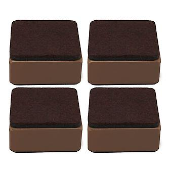 4pcs 60x32mm Carbon Steel Brown Furniture Legs Lifter Self Adhesive Brown