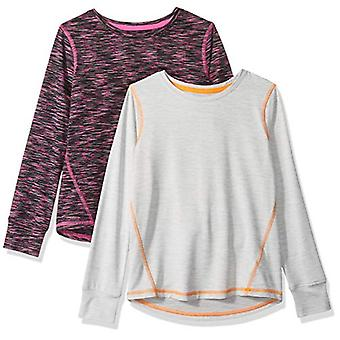 Essentials Big Girls' 2-Pack Long-Sleeve Active Tee, Black Spacedye/Li...