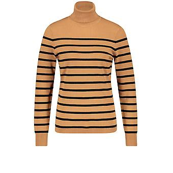 Taifun Tan Stripe Polo Neck Jumper