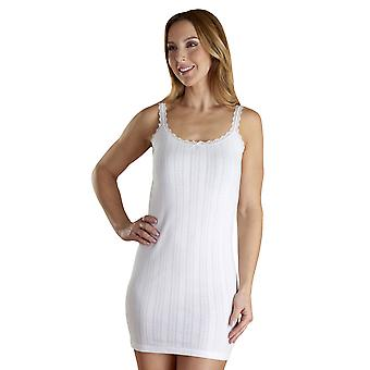 Slenderella VUW804 Women's Vedonis White Cotton Thermal Knit Long Vest Top