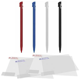 Screen protector & stylus pen pack for nintendo 2ds (original model) handheld console play & protect kit & 4 pack multi colour