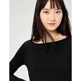 Brand - Daily Ritual Women's Jersey Long-Sleeve Bateau-Neck T-Shirt, Black/Black, X-Large