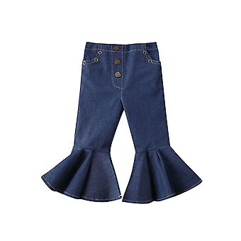 Toddler Baby Jeans- Buttons Skinny Flared Jeans, Kids Stretchy Denim