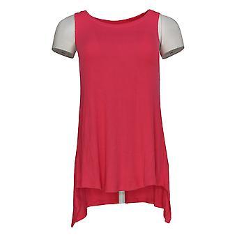 LOGO door Lori Goldstein Women's Top Knit Tank w/ Sharkbite Hem Pink A349602
