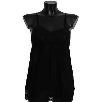 Dolce & Gabbana Black Silk Lace Chemise Dress Lingerie