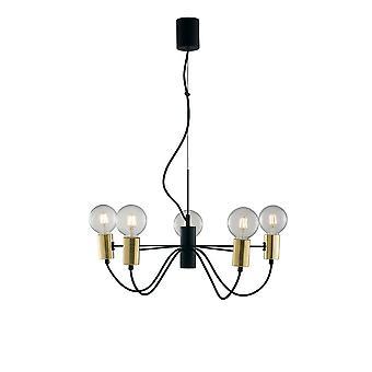 Fan Europe Axon - Pendentif plafond à 5 bras, noir, or, E27