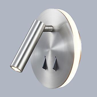 Moderne LED Bedside Lamp Satin Nikkel, warm wit 3000K 9W
