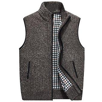 Iarna Lână Pulover Vest Mens Sleeveless Tricotate Vest Jacheta Cald Fleece
