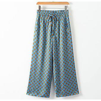 כחול מודפס קימונו ז'קט עם שרוולים נוצות רגל רחבה משוחרר קז'ואל מכנסיים