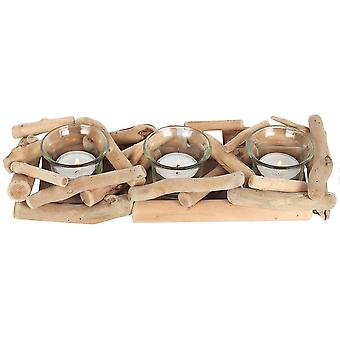 Something Different Driftwood Triple Tea Light Candle Holder