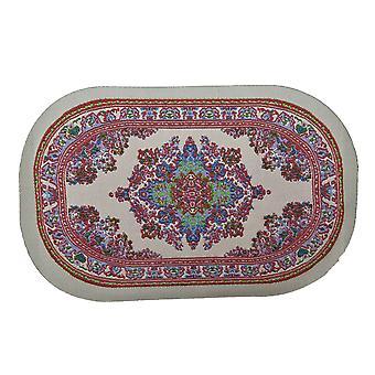 Nukke talo pieni ovaali turkkilainen matto ei hapsu miniatyyri beige vaaleanpunainen kudottu matto