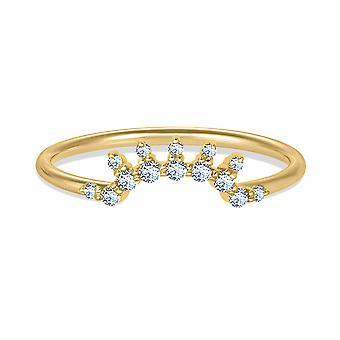 Ring Half Diamonds Sun 18K Gold