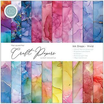 Craft Consortium Essential Craft Papers 12x12 Inch Paper Pad Ink Drops Vivid