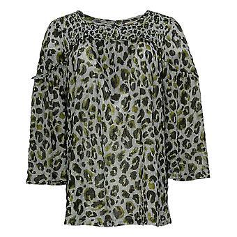 LOGO By Lori Goldstein Women's Top Printed Lace W/ Smocking Gray A367632