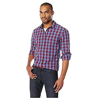 Chemise à poplin à carreaux de Gingham à manches longues, Blue/Burgu...