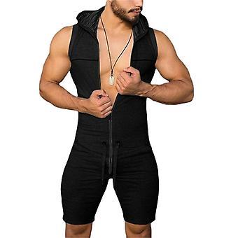 Pánske's Jumpsuit Jeden kus, Tesný Fitness bodysuit, Playsuit Zips, Bez rukávov