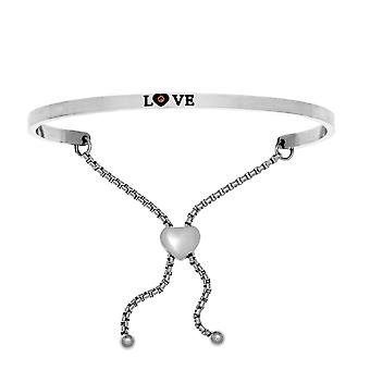"""Intuitions Stainless Steel Satin Square Love  Bangle Bracelet, 7"""""""