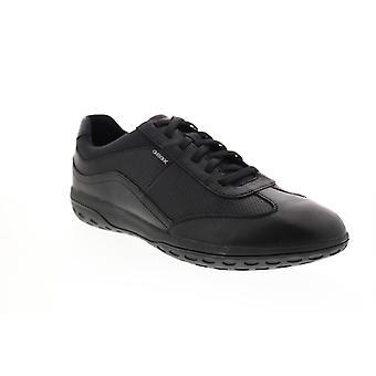 Geox U Mansel Herren Schwarz Leder Euro Sneakers Schuhe