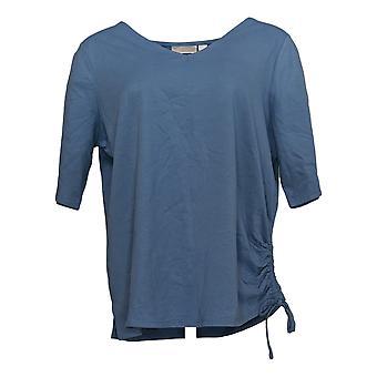 Belle de Kim Gravel Women's Top Knit Ruched Side V-Neck Blue A351544