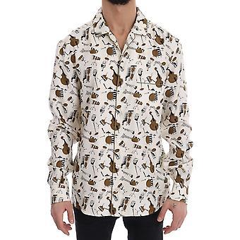 White Silk JAZZ Motive Print Shirt