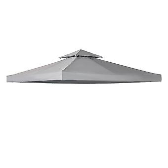 Outsunny 3 x 3(m) Gazebo Canopy Roof Top Replacement Cover Spare Part Light Grey (TOP ONLY)
