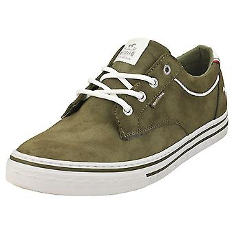 Mustang Lace Up Low Top Mens Casual Trainers in Olive
