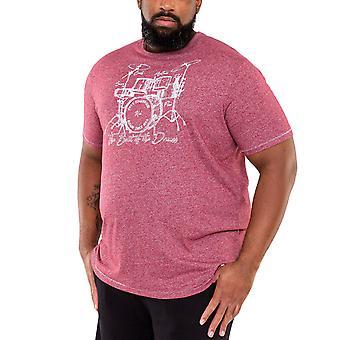Duke D555 Mens Blunt Big Tall King Storlek Trumset Tryckt T-Shirt Top - Bourgogne