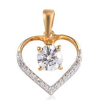 J Francis Hjärta hänge gjort med Swarovski® Zirconia i 14ct Guldpläterat försilvrar