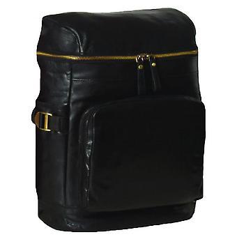 Ashwood cuero cremallera alrededor de la mochila - negro